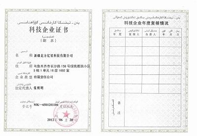 北方亿星科技企业证书